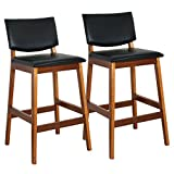 ZENY Set of 2 27'' Height Bar Stool Commercial Restaurant Walnut Color Natural PU Leather Back (2)