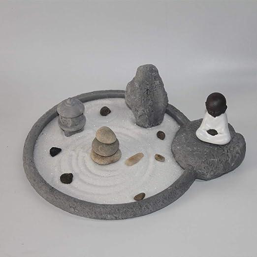Hjyi Meditación Zen Garden,Jardin Zen Mesa de Arena China Decoración de montaña Seca Zen Buda Estatua Meditación Decoración Hotel Club Yoga Set: Amazon.es: Hogar
