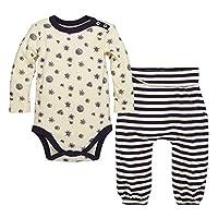 Burt's Bees Baby Baby Organic Long Sleeve Bodysuit and Pant Set, Eggshell, Ne...