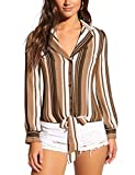 Lookbook Store Women's Coffee Tie Front Long Sleeve Stripe Blouse Button Down Shirt Top Size X-Large (Fits US 16 - US 18)