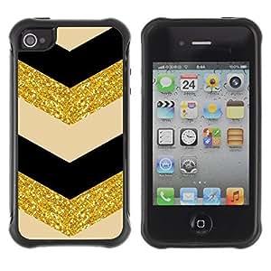KROKK CASE Apple Iphone 4 / 4S - chevron fabric gold pattern sparkling glitter - Rugged Armor Slim Protection Case Cover Shell