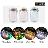3 Packs Solar Energy Mason Jar LED Light with 10 Bulbs Waterproof Glass Fairy Lights Decorating Garden,Trees in Party,Wedding and Festivals (Multicolored,Warm White,White,Three Color) (White)
