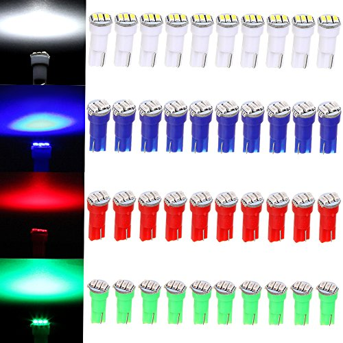 cciyu 40 Pack T5 3-3014-SMD Instrument Dashboard LED Light Bulbs 17 37 73 2721 74 Car