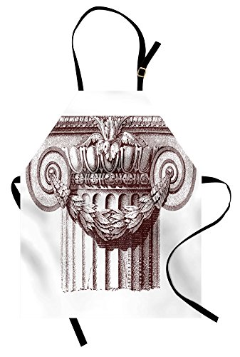 Romans Costumes Ideas (Ambesonne Vintage Apron, Classical Antique Column Roman Empire Architecture Heritage Culture Print, Unisex Kitchen Bib with Adjustable Neck for Cooking Gardening, Adult Size, Burgundy)