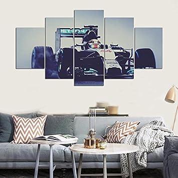 Einrichtung Home Wandkunst Frame Bilder HD Gedruckt Moderne 5 Panel Rennrad  Auto Malen Auf Wohnzimmer Leinwand