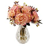 famibay Silk Carnation Bouquets 6 Floral Head Vantage Artificial Fake Flowers with Stem for Mother's Day Birthday Home Decoration Wedding Bridal Silk Flowers Set of 2(Yellow and Pink)