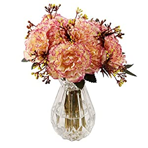 famibay Silk Carnation Bouquets 6 Floral Head Vantage Artificial Fake Flowers with Stem for Mother's Day Birthday Home Decoration Wedding Bridal Silk Flowers Set of 2(Yellow and Pink) 9