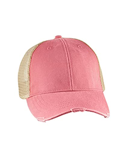 58c2043e5 Mary's Monograms Monogrammed Distressed Trucker Hat Coral