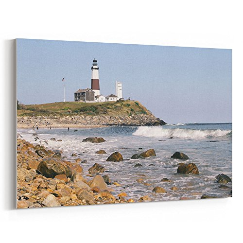 Westlake Art - Lighthouse Montauk - 32x48 Canvas Print Wall Art - Canvas Stretched Gallery Wrap Modern Picture Photography Artwork - Ready to Hang 32x48 Inch (Lighthouse Brother East)