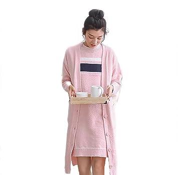Set de pijamas de invierno para mujer, camisón y bata de salón de 2 piezas