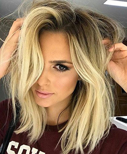 Vébonnie 2017 Blonde Hair Trend- Short Bob Blonde Lace Front Wigs for Women Synthetic Hair Dark Rooted Ombre Blonde Short Wig uk Natural Looking Celebrity Wig
