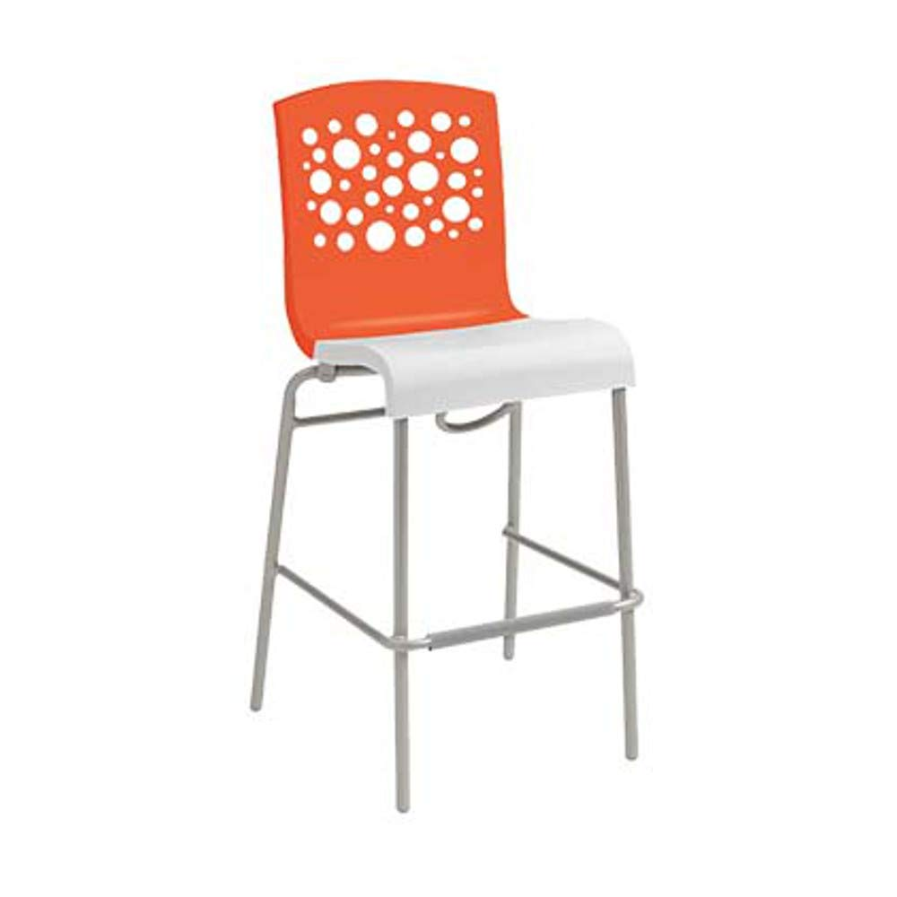 Grosfillex US838019 Tempo Stacking Barstool, Orange with White Seat (Case of 2)