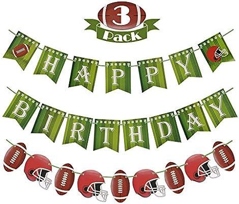 Amazon.com: Bomcan 3 Pack Football Birthday Banner, Football ...