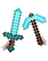 (2 Count) Foam Blue Diamond Sword & Pickaxe for Boys and Girls Combo (Set Of 2)