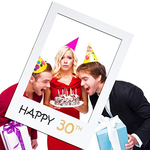 OULII Happy 30th DIY Paper Picture Frame Cutouts Photo Booth Props for Birthday -