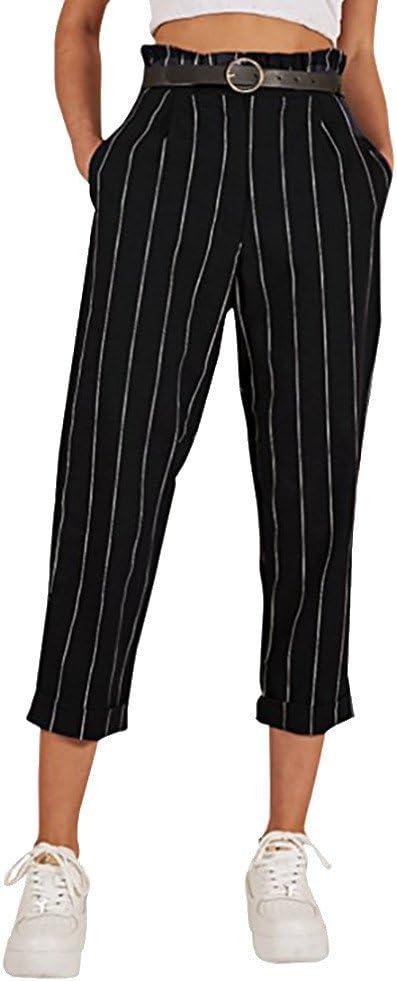 Pantalones De Mujer A Rayas Con Lona Cintura Alta Pierna Recta Ajustados Con Volantes Informales Para Trabajo Oficina Pantalones Largos Chic Para Mujer Amazon Es Juguetes Y Juegos