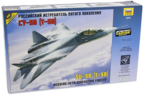 Zvezda 7275 - Russian Fifth-Generation Fighter Sukhoi SU-50 (T-50) - Plastic Model Kit Scale 1/72 70 Details Lenght 11.5