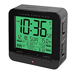 Four Alarm Atomic Clock With Auto Nightlight And Smart Touch-Activated Snooze & Backlight Function (BLACK)