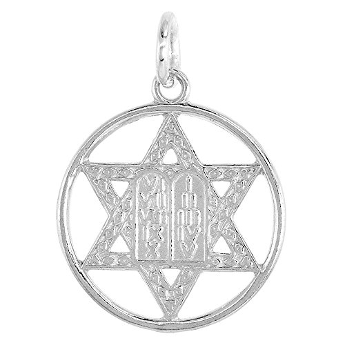 Small Sterling Silver Star of David Pendant with 10 Commandments 3/4 inch round 30 inch BX_19