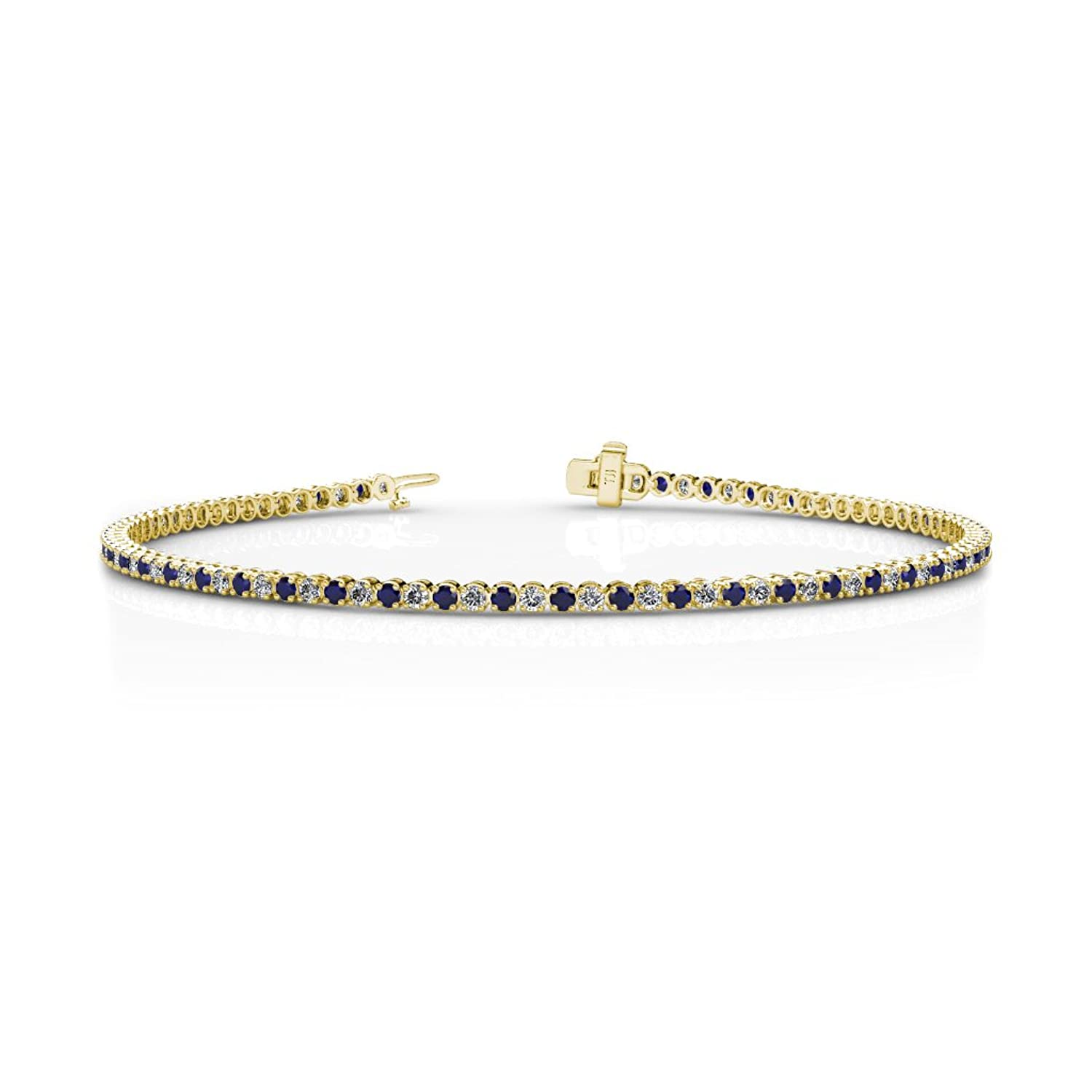 Blue Sapphire and Diamond (SI2-I1-Clarity, G-H-Color) Tennis Bracelet 1.62 ct tw in 14K Gold