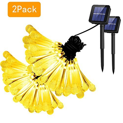 Dolucky Solar String Lights 2 Pack Solar Lights Outdoor Garden Decoration Lighting,20 Ft 30 LED Water Drop Solar Fairy Lights for Patio Lawn Yard Home Parties Christmas- Warm White