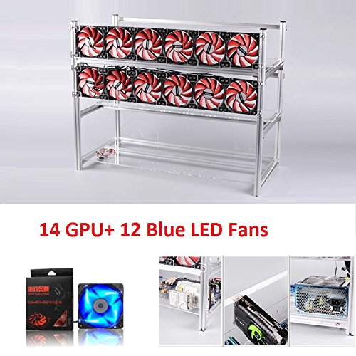 Open Air Mining Rig Stackable Frame 14 GPU Case With 12 LED Fans For ETH Z Cash (Silver+Blue LED Fans)