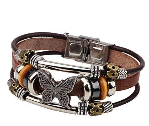 Sterling Silver Butterfly Watch - Most Beloved Charm Butterfly Beaded Multilayer Leather Bracelet Retro Cuff With Metal Clasp
