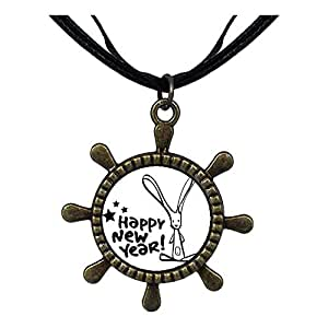 Chicforest Bronze Retro Style Happy New Year Ship Steering Wheel Pendant