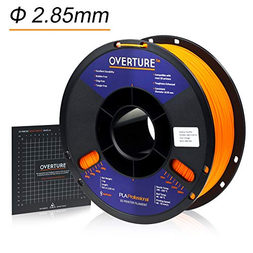 Overture PLA Plus (PLA+) Filament 2.85mm3D Build Surface 200 × 200mm Premium PLA 1kg Spool (2.2lbs) Dimensional Accuracy +/- 0.05 mm (Orange)