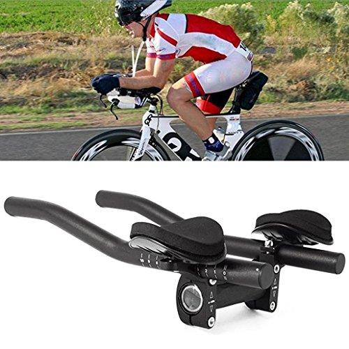 (Chartsea Road Mountain Bike Bicycle Alloy Triathlon Aero Rest Handle Bar Clip On Tri Bars (A))