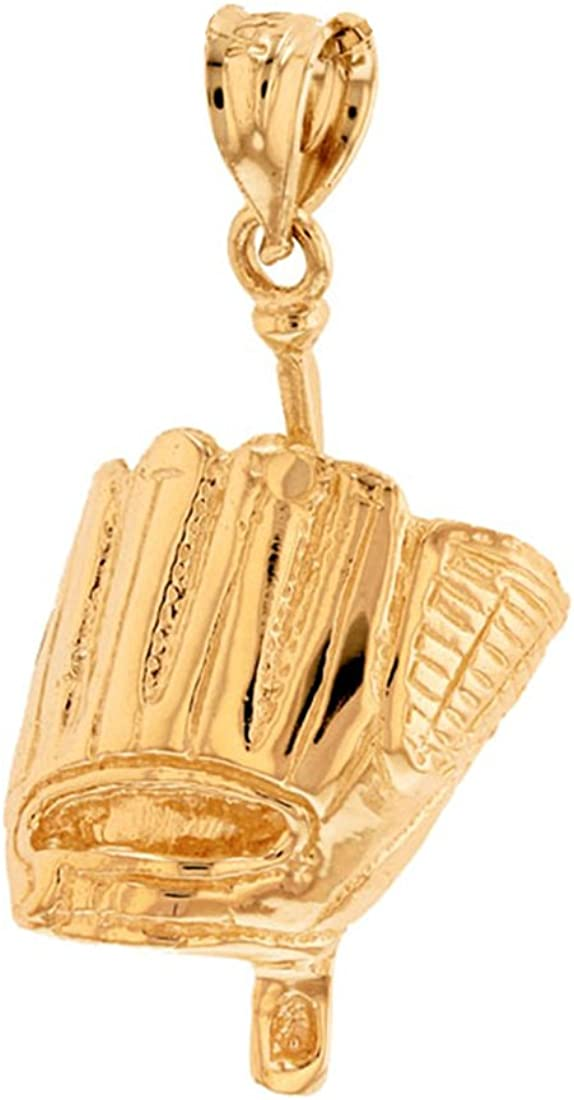 Solid 14k Yellow Gold Baseball Bat and Glove Sports Pendant