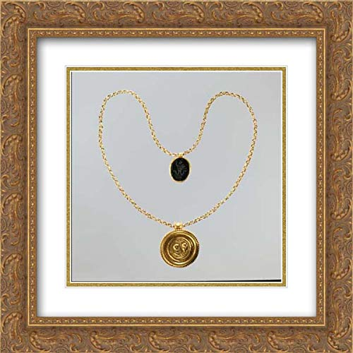 Byzantine Culture - 20x20 Gold Ornate Frame and Double Matted Museum Art Print - Necklace with Gold Marriage Medallion and Hematite Amulet