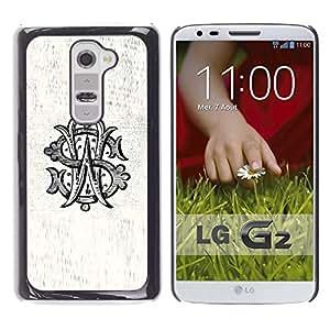 W S Iniciales Carta Caligrafía Rústico Viejo- Metal de aluminio y de plástico duro Caja del teléfono - Negro - LG G2