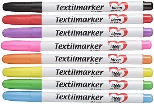 Textilstifte, verschiedene Farben, 8 Stück | Stoffmalstifte, permanente Textilmarker | T-Shirts, Taschen, Kissenhüllen, Textilien, Stoffe bemalen | DIY, upcycling | auf Wasserbasis (3 mm)