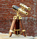 Marine Navy Brass Telescope With Table Top Wooden Tripod Nautical Spyglass Decor