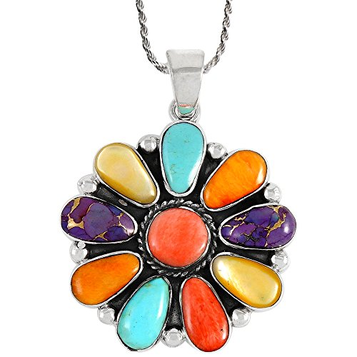 Gemstone Pendant Necklace Sterling Silver 925 Genuine Turquoise & Gemstones 20'' (Multi) by Turquoise Network (Image #1)