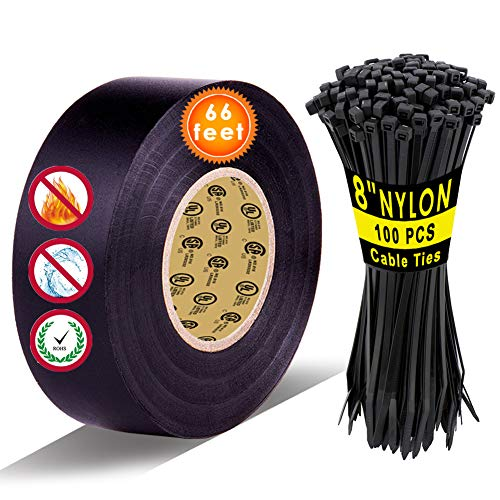 """Black Electrical Tape and 8"""" Cable Tie 100 PCS by LYLTECH, Pass UL/CSA Listed. Waterproof,Flame Retardant,Strong Rubber Based Adhesive, 600V with 14℉ to 176℉. Size : 66 feet x 3/4 inch x 0.07 mil"""