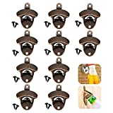 LoveStorY Wall Mounted Bottle Opener 10 Pack Rustic Beer and Soda opener with Mounting Screws Vintage Home Décor for Bartender Cafe Bars Restaurant