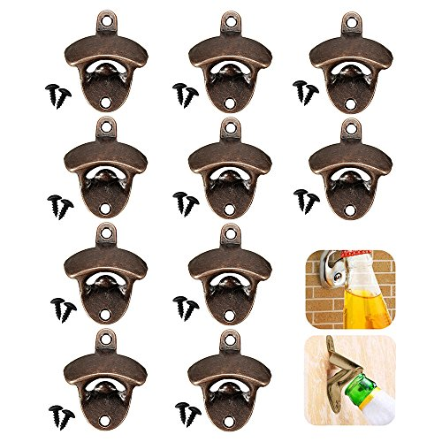 LoveStorY Wall Mounted Bottle Opener 10 Pack Rustic Beer and Soda opener with Mounting Screws Vintage Home Décor for Bartender Cafe Bars -