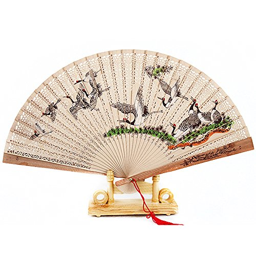 Chinese Traditional Carved Wooden Fan Folding Fan Round Wire Classical Single Transparent Palace Fan (Halloween Singles Party Toronto)