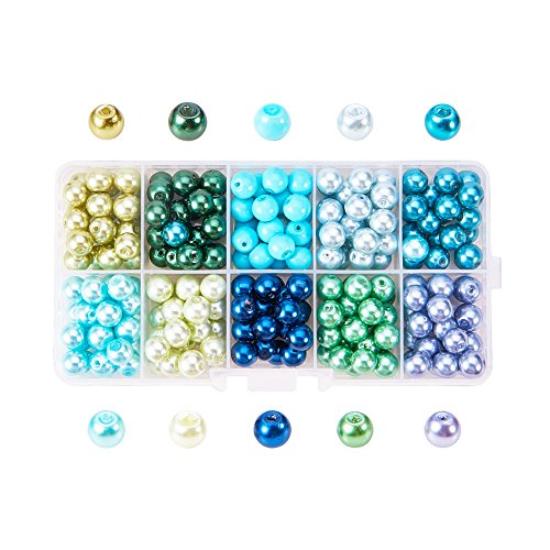 PH PandaHall 8mm About 200 Pcs Tiny Satin Luster Glass Pearls Round Loose Beads with FREE Plastic Jewelry Container Box Wholesale Assorted Mix Lot For Jewelry Making ()