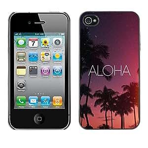 PC/Aluminum Funda Carcasa protectora para Apple Iphone 4 / 4S aloha Hawaii night sky stars text pink / JUSTGO PHONE PROTECTOR