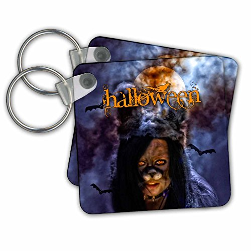 [Doreen Erhardt Halloween Collection - The Beast Under the Full Moon for Halloween Night in Costume - Key Chains - set of 2 Key Chains] (Trick Or Treat Costumes Images)