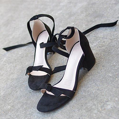 sandali e con legato ZHANGJIA freschi dita di black l'arco sandali estate sandali con piccole paio qS7UX
