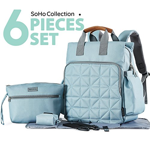 SoHo diaper bag backpack Kenneth 6 pcs nappy tote stylish bag for baby mom dad insulated unisex multifunction large capacity durable includes changing pad stroller straps Aqua Sage (Soho Designs)