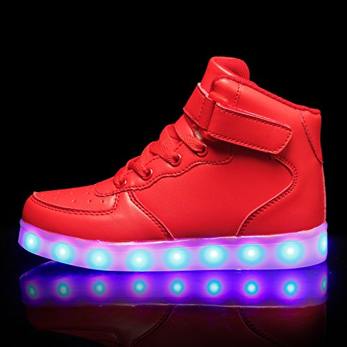 KE1AIP Unisex Hoch oben LED Schuhe USB 7 Farbe Sneaker Turnschuhe Sportschuhe für Unisex-Erwachsene Herren Damen Red
