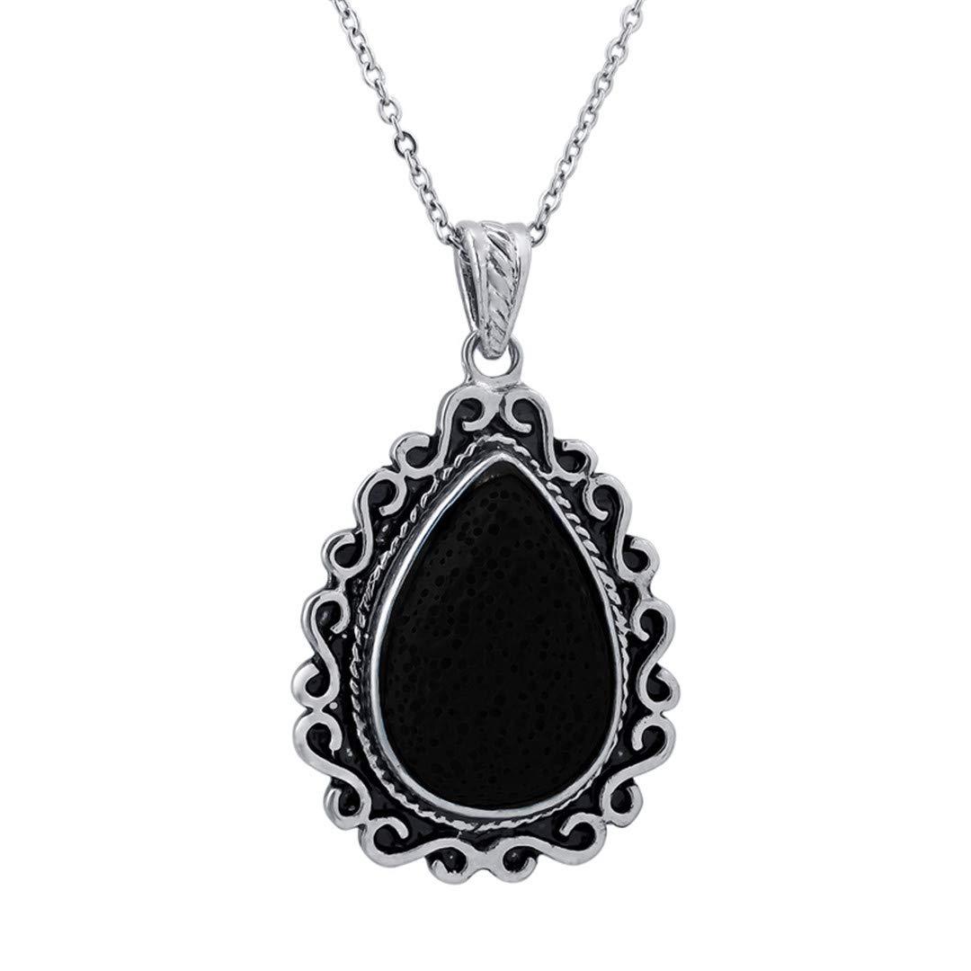 Lava Stone Diffuser Pendant With Clay Water Drop Necklace For Women Drop Shipping Essential Oil Diffuser Necklace Black