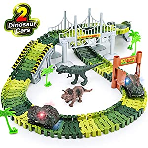 Dinosaur-Toys156pcs-Create-A-Dinosaur-World-Road-RaceFlexible-Track-Playset-and-2-pcs-Cool-Dinosaur-car-for-3-4-5-6-Year-Up-Old-boy-Girls-Best-Gift-Green-1