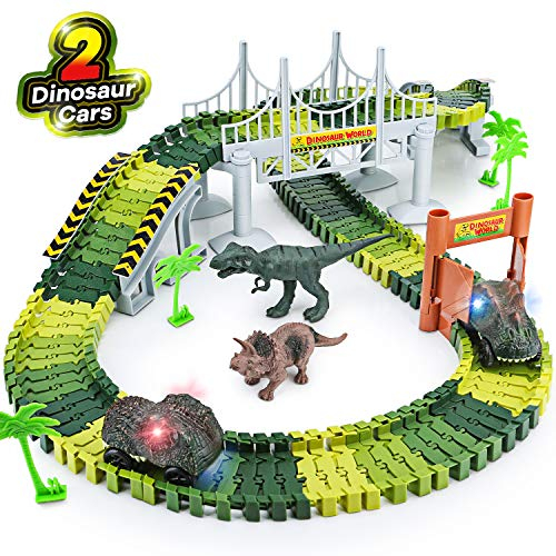 Dinosaur Toys,156pcs Create A Dinosaur World Road Race,Flexible Track Playset and 2 pcs Cool Dinosaur car for 3 4 5 6 Year & Up Old boy Girls Best Gift (Boy 5 Best Year Old Toys)