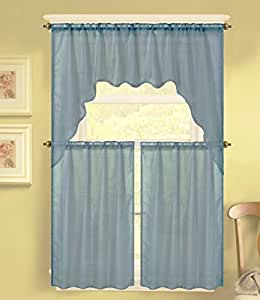 Gorgeoushomelinen K66 3 Pc Slate Blue Voile Rod Pocket Window Kitchen Sheer